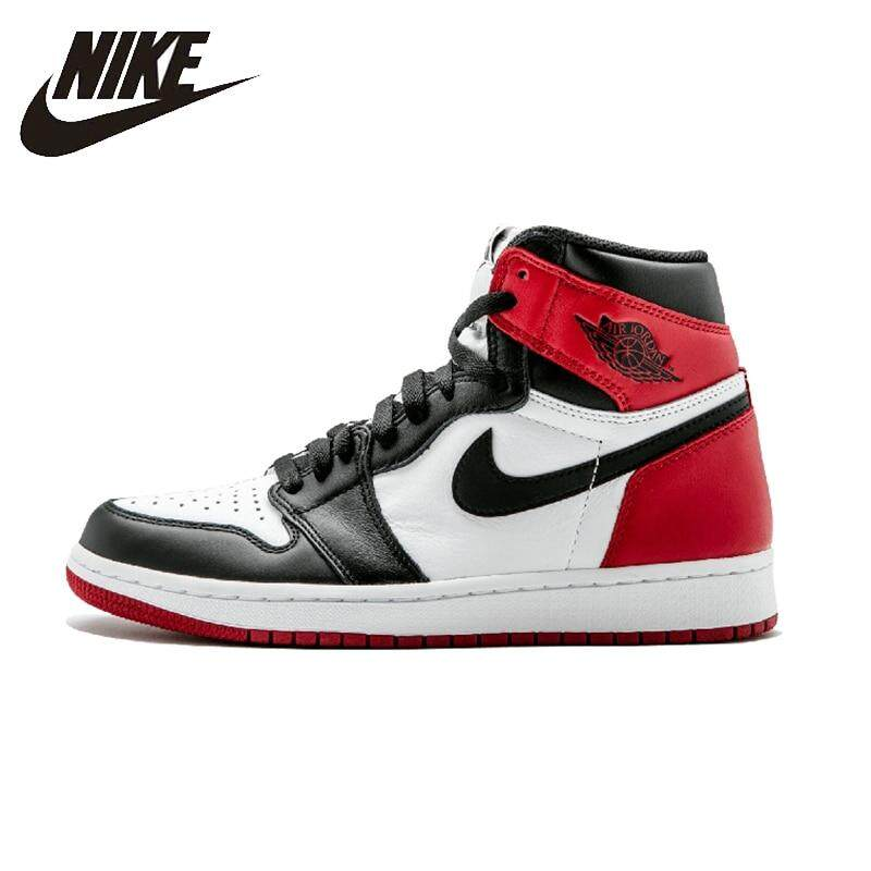 db8ee0b7604571 Nike Air Jordan 1 Black Toe Mens Basketball Shoes Breathable Stability  Sneakers For Men Shoes