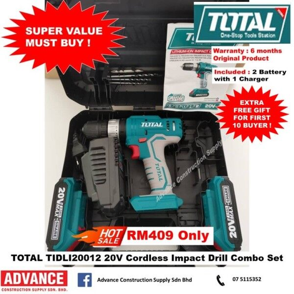 TOTAL TIDLI20012 20V Li-ion Impact Battery Power Drill Combo Set RM409 『6 Month Warranty Original Total Malaysia Products』