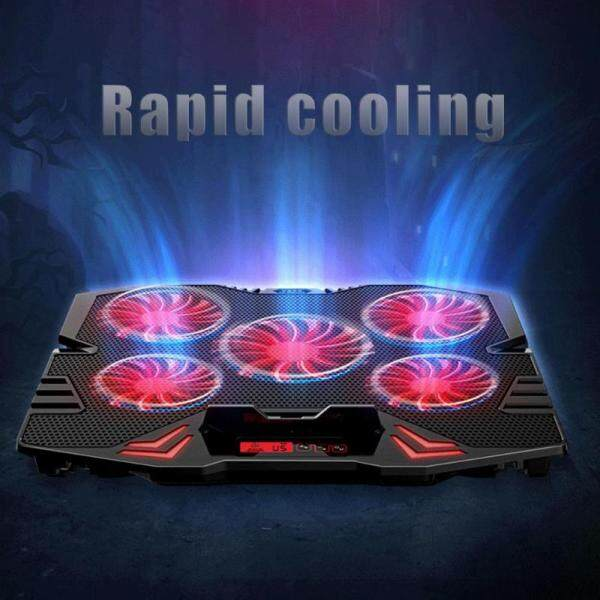 ICE COOREL K5 5 Fan 2 USB Adjustable Laptop Cooler Generar/Touch Screen Notebook Computer Lighting Cooling Pad Base Stand Cooler Malaysia