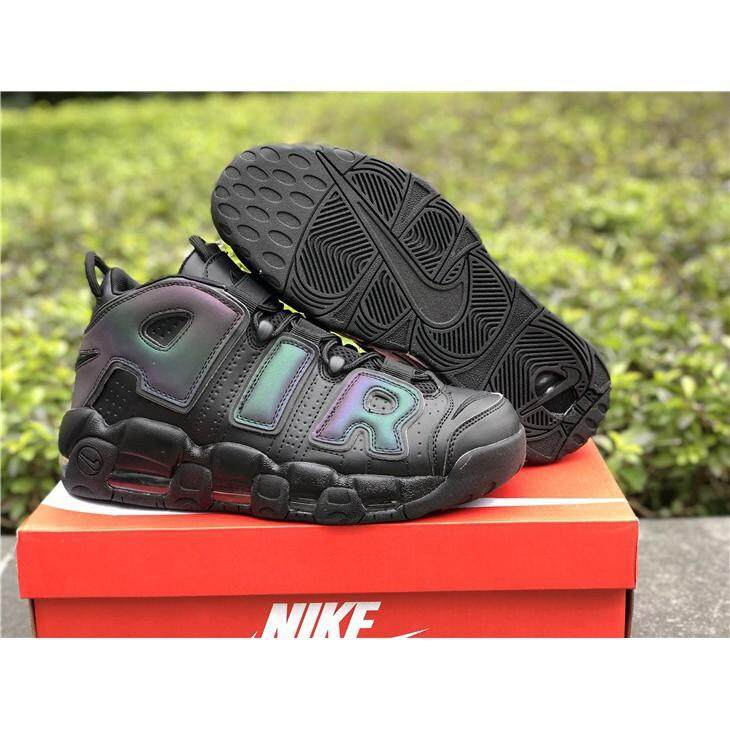 ยี่ห้อนี้ดีไหม  พังงา Available NIKEE Air More Uptempo Reflective Black/Black-Wolf Men s women s casual sports running shoes