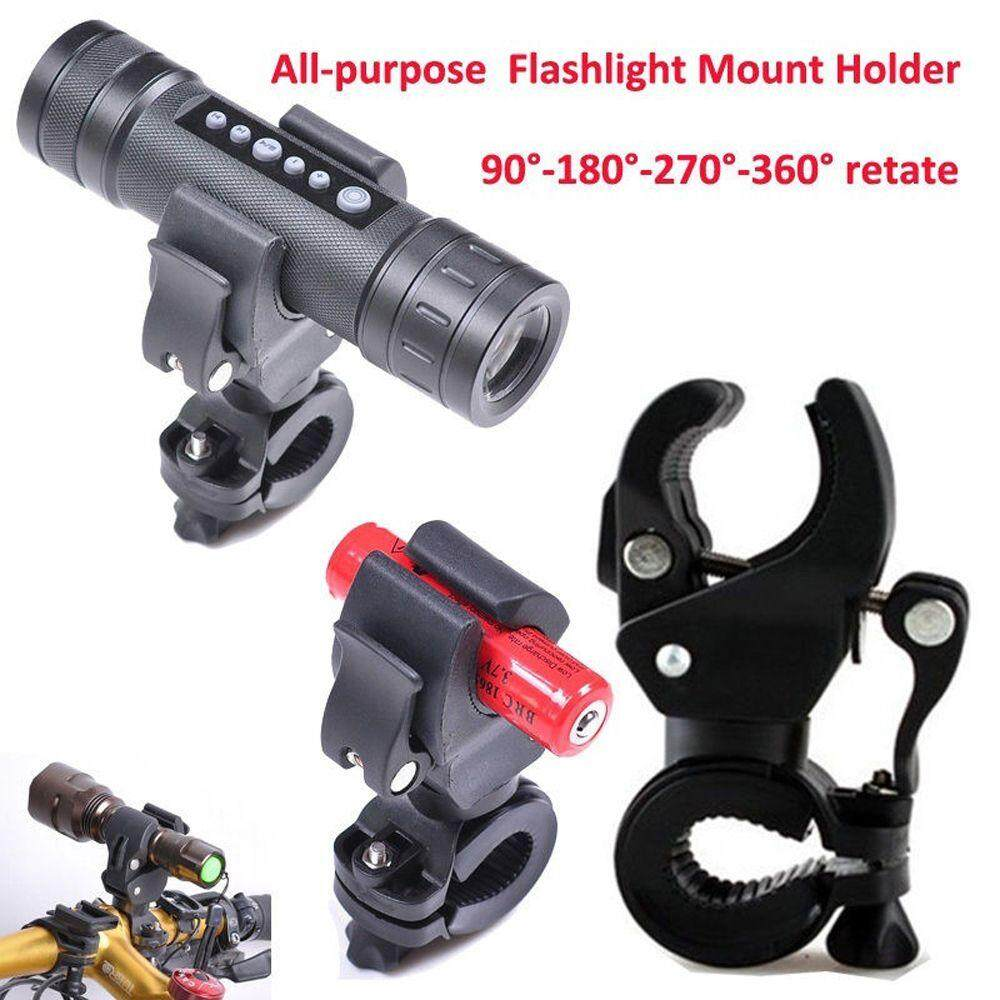 Bicycle LED Light Mount Clam Laser Torch Mount Clip Grip Bracket Flashlight
