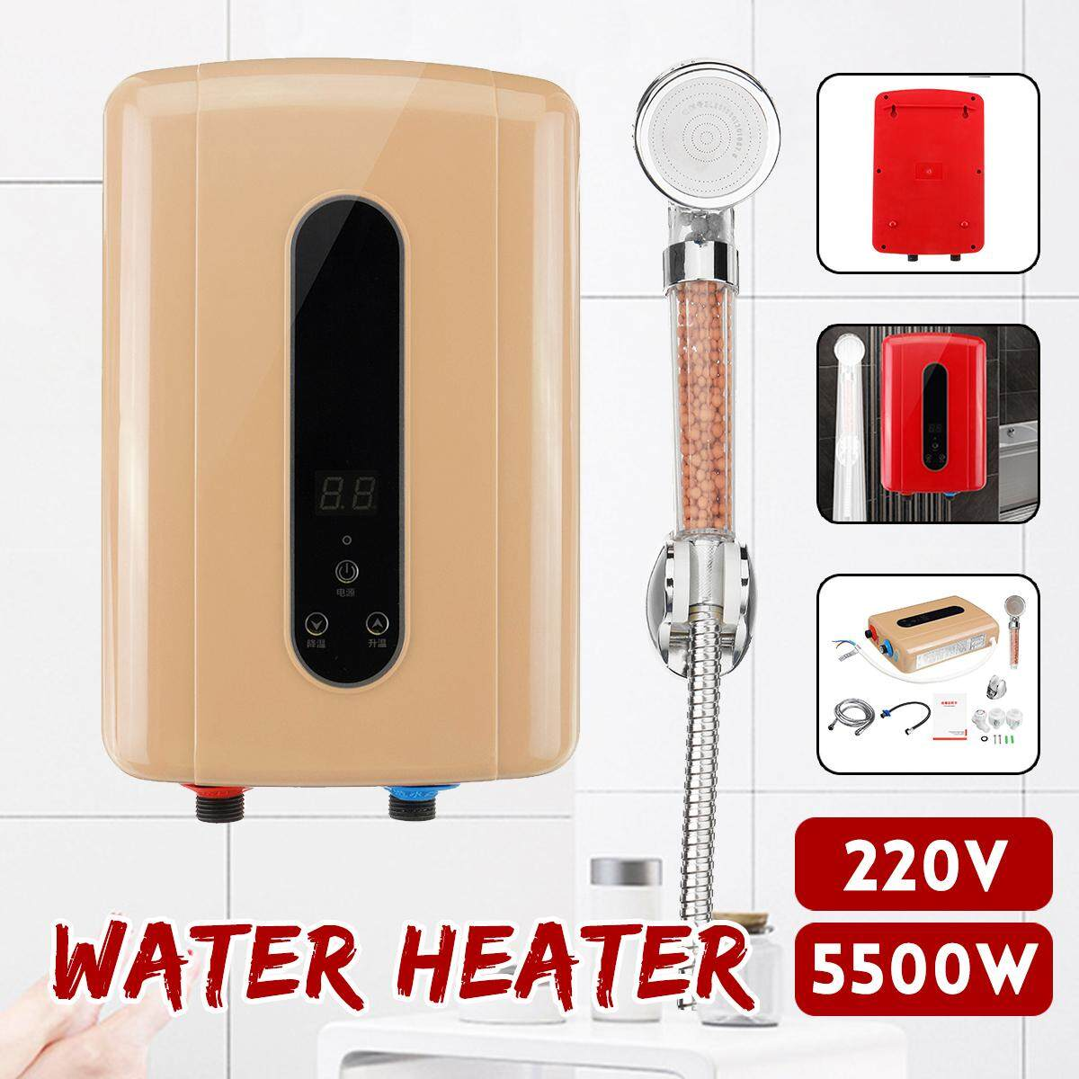 5500W 220V Electric Tankless Hot Water Instant Heater Bathroom Kitchen Shower