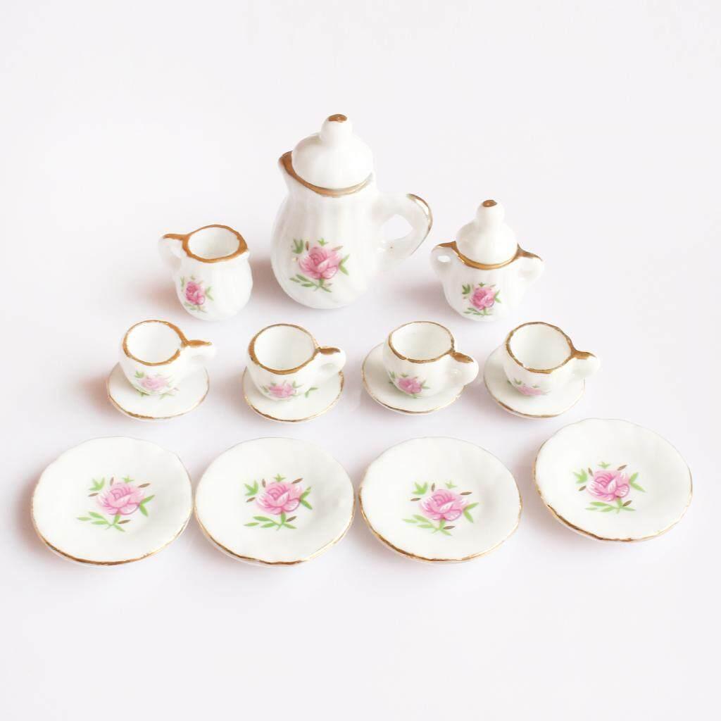 MagiDeal 15 Peices Dollhouse Miniature Dining Ware Porcelain Tea Set
