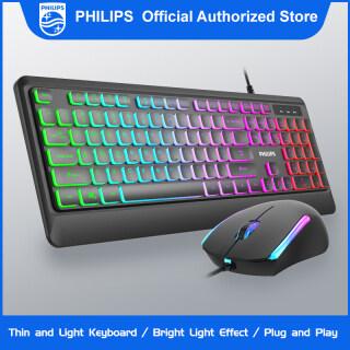 Philips G294 (SPT8294) Cảm Giác Cơ Học Bàn Phím Chơi Game Có Dây Và Chuột Chơi Game Combo Đèn Nền Nhiều Màu Cho Máy Tính Để Bàn Máy Tính Xách Tay thumbnail