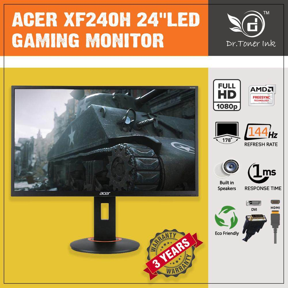 Acer XF240H 24 16:9 Gaming Monitor 144Hz / 1 ms / AMD Free Sync / Built in Speakers / Eco Friendly  (HDMI/DP) By Dr Toner Malaysia