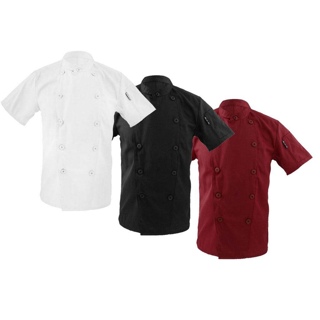Fenteer Men Women Mandarin Collar Short Sleeve Chef Coat Uniform Tops Red 3XL