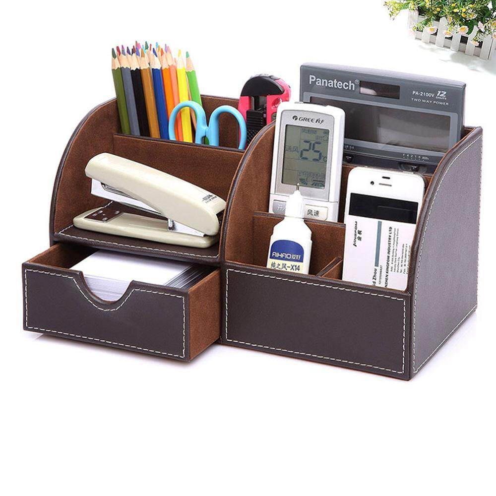 Multifunctional Office Desktop Decor Storage Box Leather Stationery Organizer Pen Pencils Remote Control Mobile Phone Holder Office & School Supplies