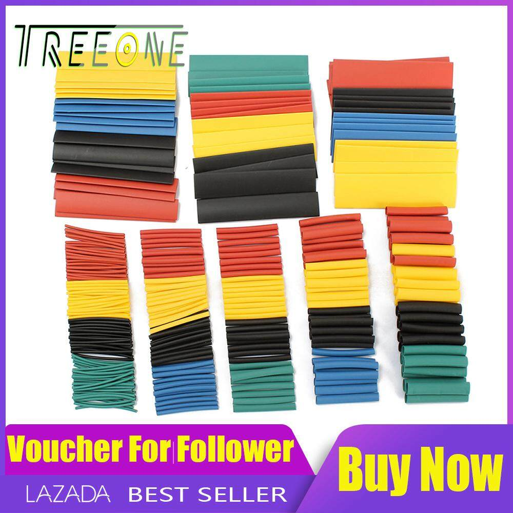 Heat Shrink Tubing Heat Shrink Tube Sleeving 328 Pcs With Case - Black+red +yellow+blue+green By Treeone.