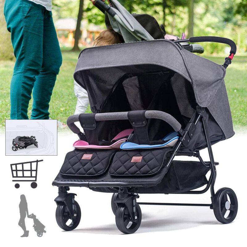 Twin Baby Stroller Front And Rear Seat Double Baby Stroller Lightweight Folding Reclining Multifunction Singapore