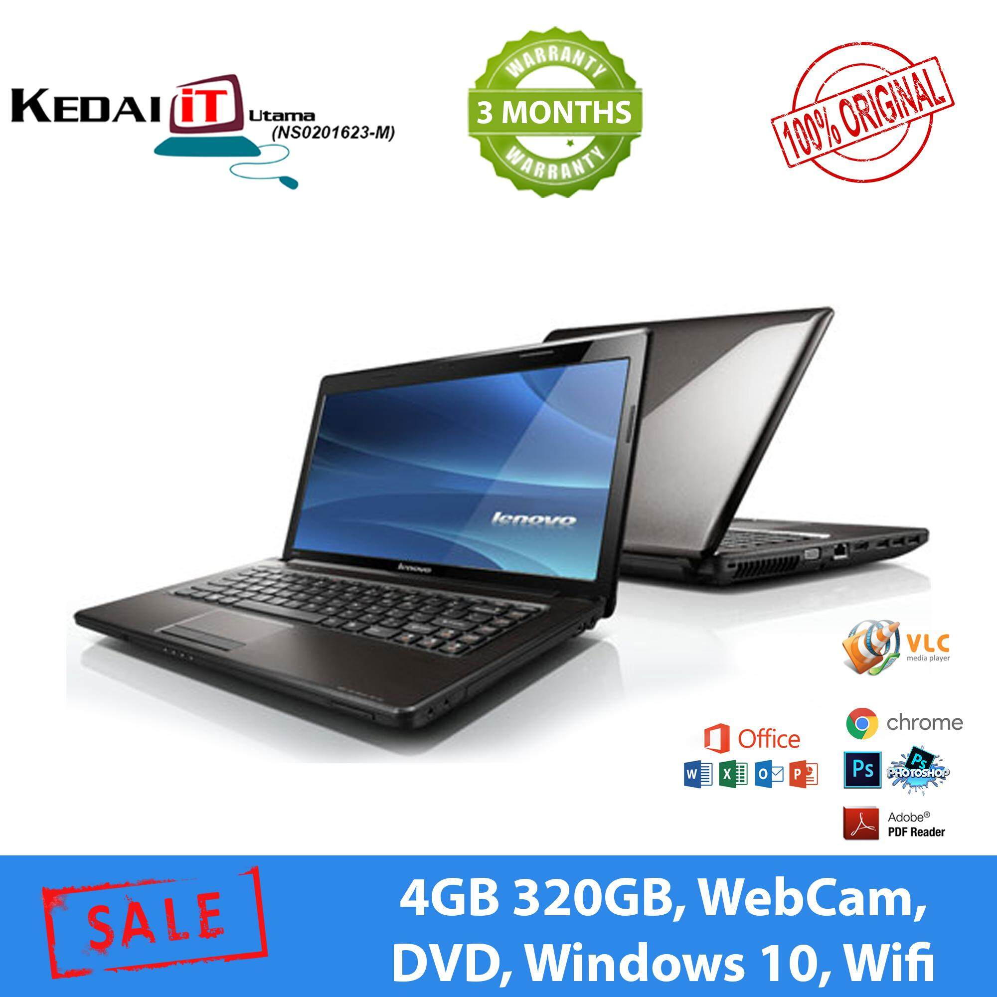 Lenovo i3 Laptop - G470 - 4GB RAM, 320GB HDD, WebCam, Wifi , Windows 10, 3 Months Warranty  + FreeBag , Mouse (Refurbished) Malaysia