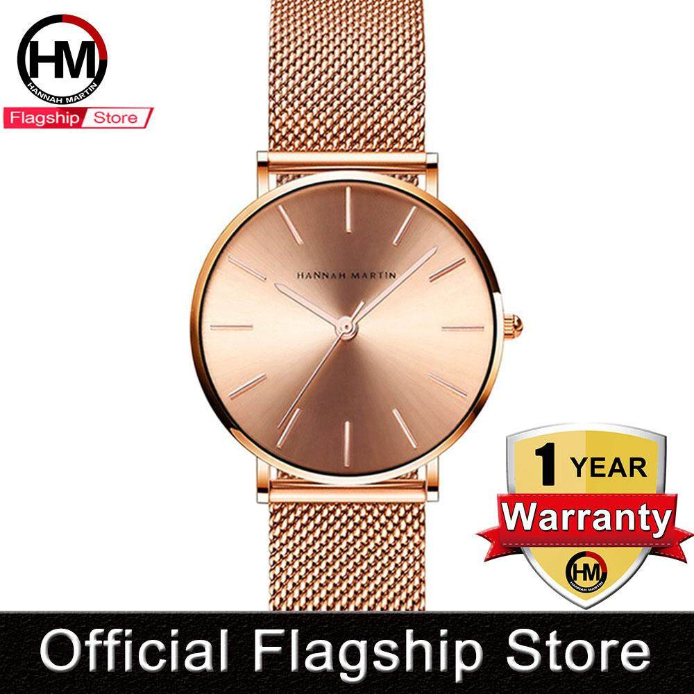 Hannah Martin Fashion Watch for Women Casual Watches Waterproof Quartz Watches Stainless Steel Adjustable Strap Lady Jam Tangan Wanita Silver Rose Gold Malaysia