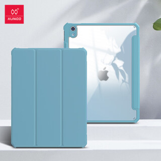 iPad Air 4 case, Xundd Protective Tablet Cover For iPad Air 2020 Leather Case Transparent Shockproof Tri-fold Cover Stand thumbnail