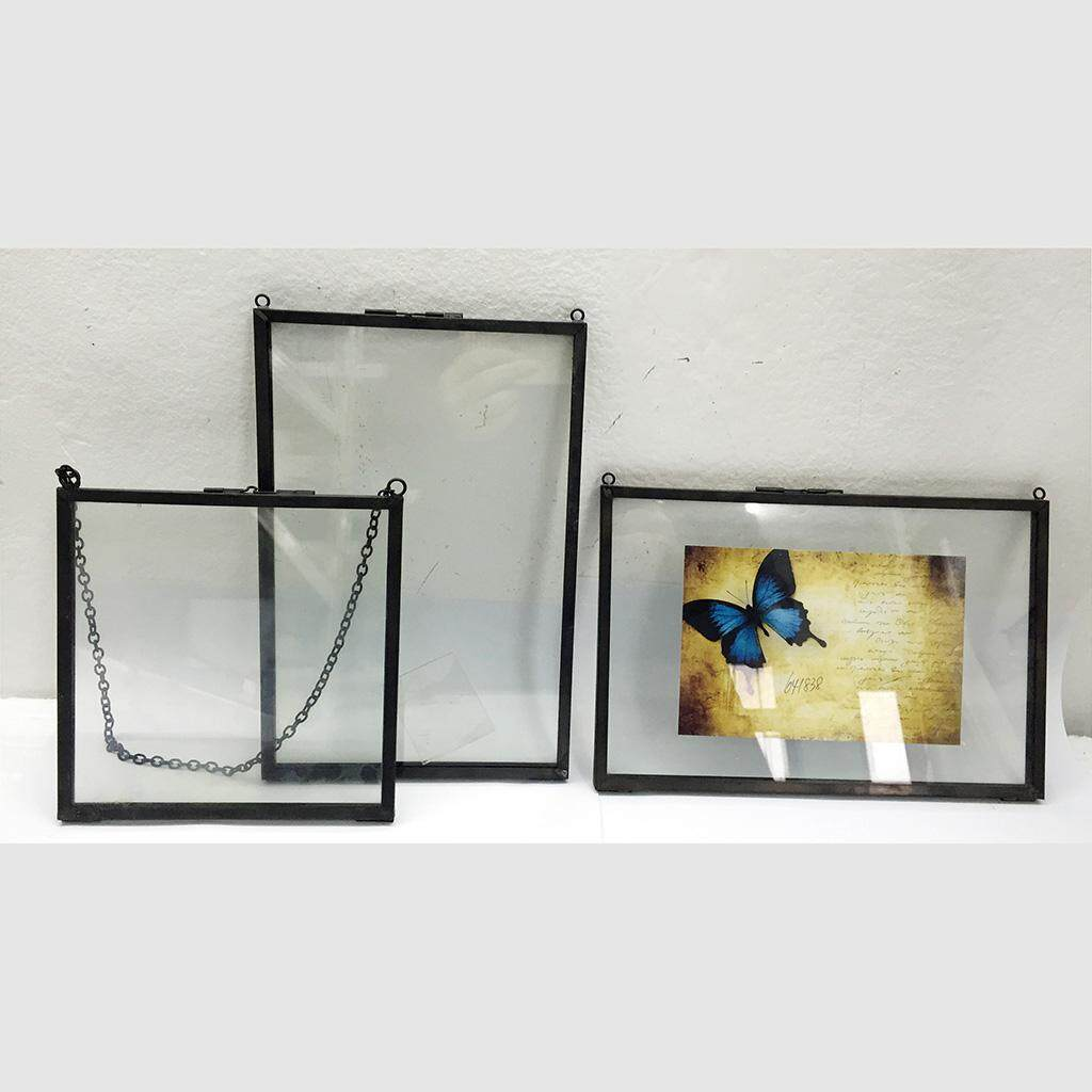 Perfk 2Pcs Metal Glass Picture Photo Frame Hanging Freestanding Portrait Decor, 4inch by 6inch