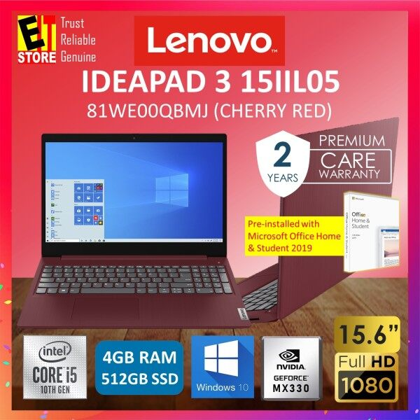 LENOVO IDEAPAD 3 IP3-15IIL05 81WE00QBMJ LAPTOP -CHERRY RED (I5-1035G1/4GB/512GB SDD/15.6 FHD/NO ODD/MX330 2GB/W10/2YRS PREMIUM) WITH MS.OFFICE Malaysia