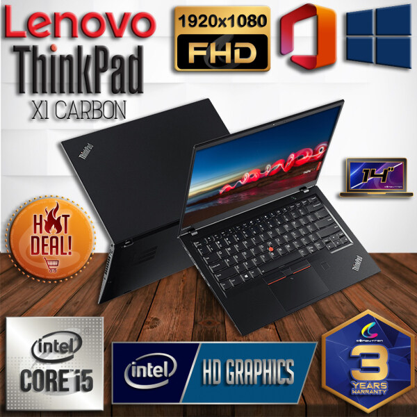 LENOVO THINKPAD X1 CARBON ULTRABOOK DESIGN 6TH GENERATION SKYLAKE - INTEL CORE I5-6300U / 8GB DDR4 RAM / 256GB SSD / FHD 14 INCH / WINDOW 10 PRO / 3 YEAR WARRANTY [ LAPTOP / ULTRABOOK ] Malaysia