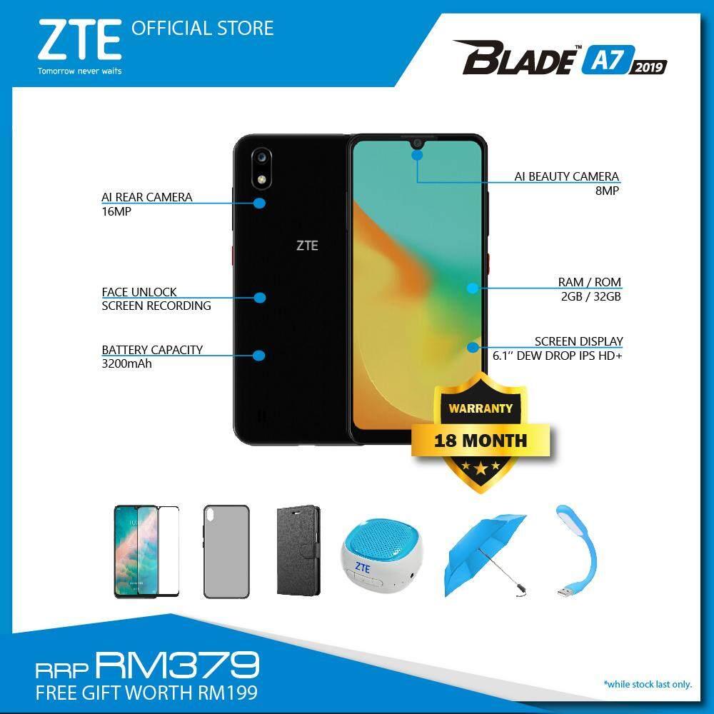ZTE BLADE A7 (2GB+32GB) (FREE GIFT - FLIP CASE / TPU CASE / SCREEN  PROTECTOR / WIRELESS SPEAKER / LIMITED EDITION UMBRELLA / USB LED LIGHT)