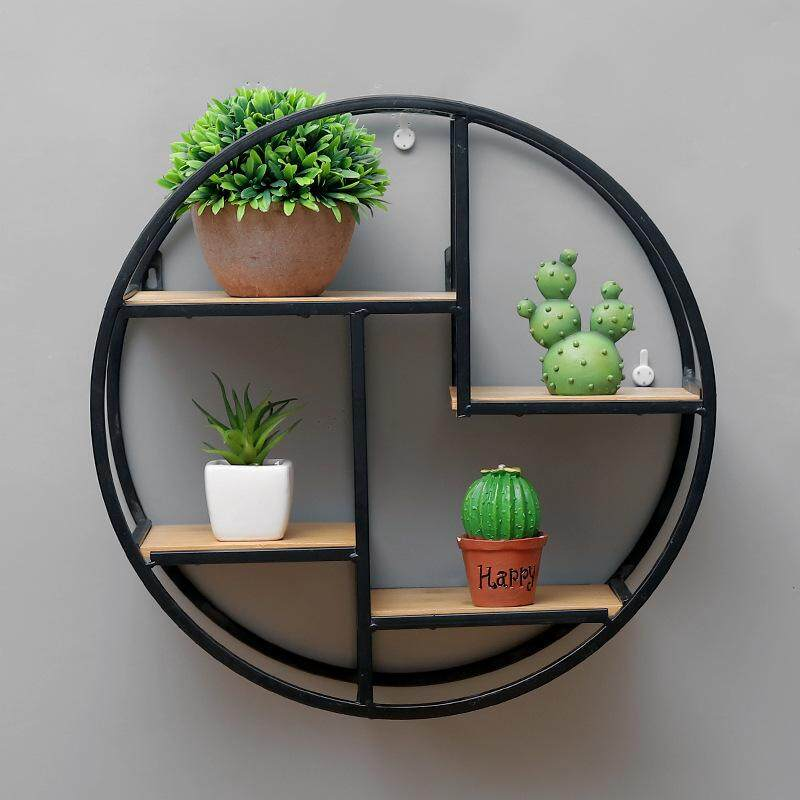 Iron Wall Shelf Retro Solid Wood Shelf Partition Wall Decoration Storage Round Display Stand Direct