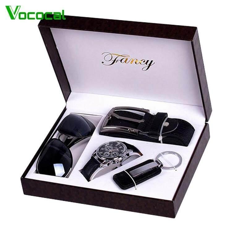 PU Leather Quartz Analog Wrist Watch + Waist Belt + Sunglasses + Keychain Keyring With Box Gifts Set for Men Dad Fathers Day Black Malaysia