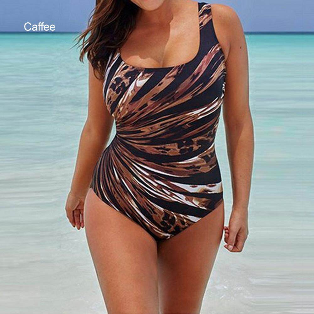 f5293cb5f8aa5 Summer Swimming Suit Geometric Print Plus Size One-Piece Bikinis For Women