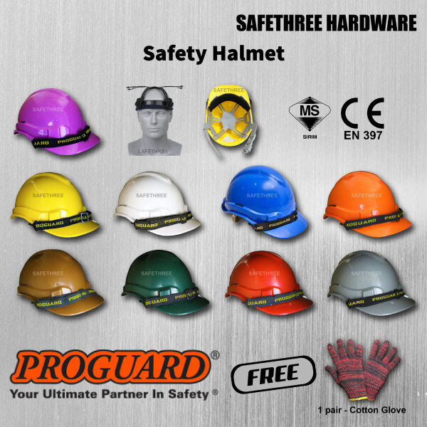 Proguard Safety Helmet (Sirim Certified) Yellow, White, Blue, Red, Orange, Green, Grey, Purple, Brown