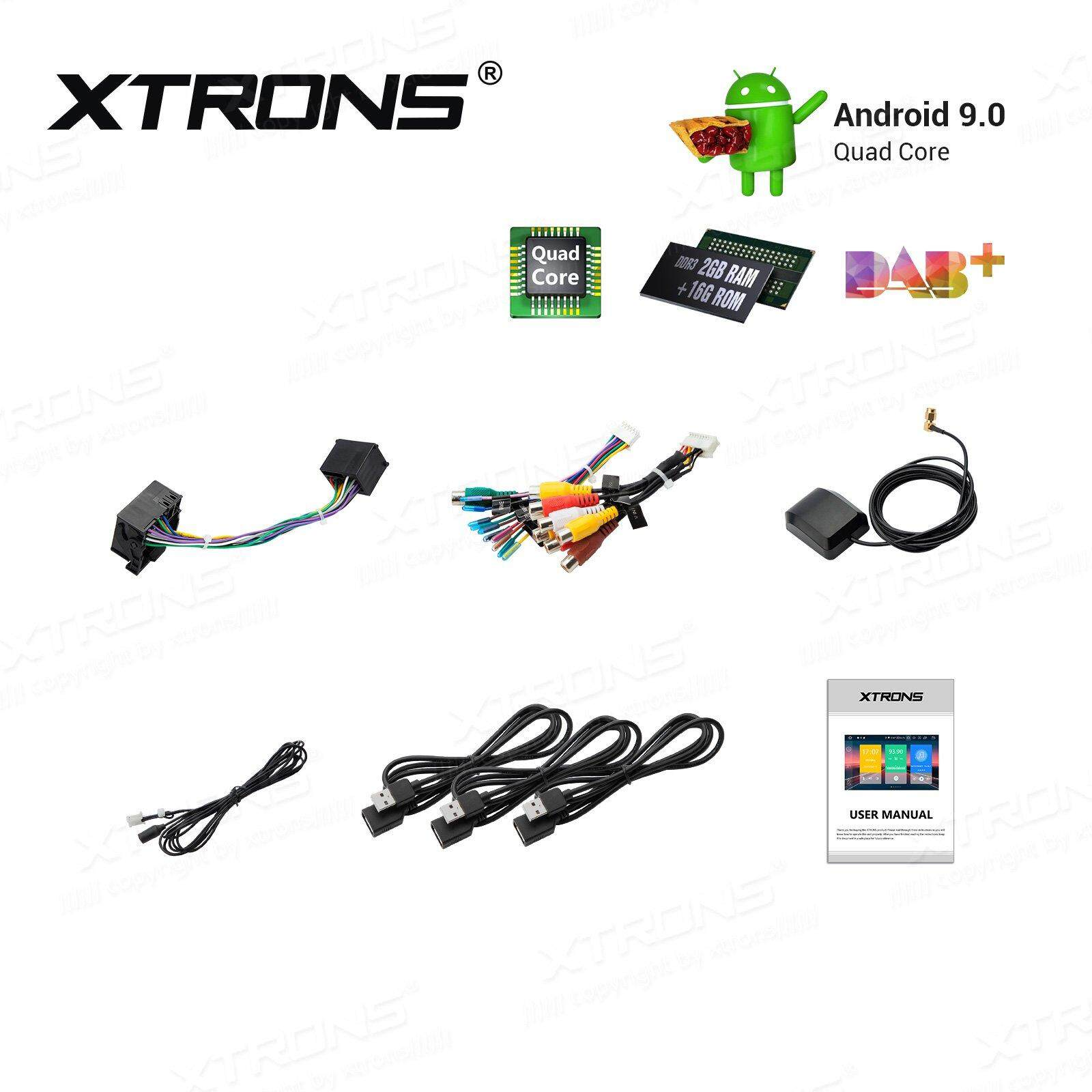 XTRONS Android 9 0 Car Stereo GPS Navigator 9 Inch Touch Screen Slim Design  in-Dash No-DVD Player Quad Core Head Unit Auto Radio Supports Plug and