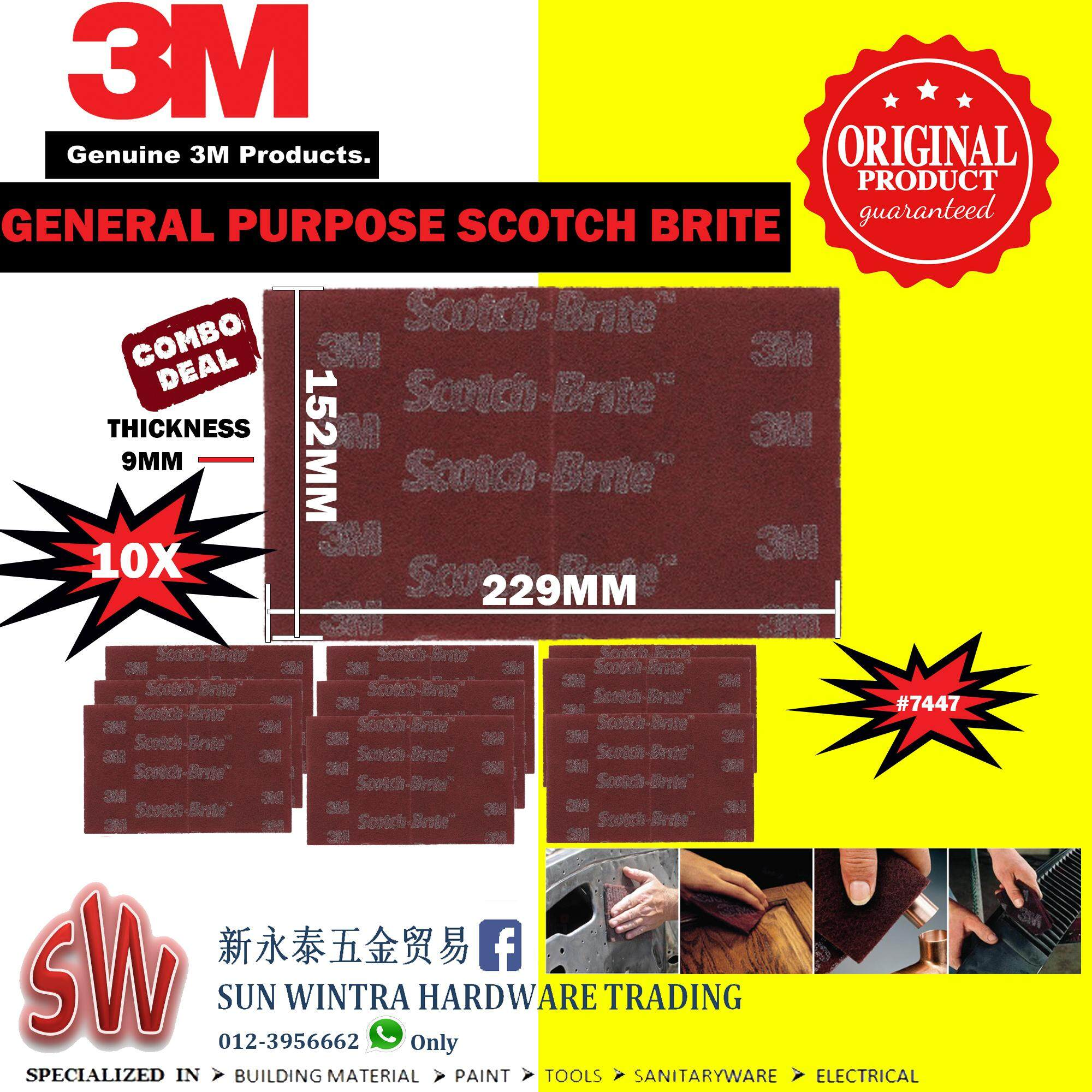 3m 7447 Scotch-Brite Hand Finishing Pads 10pcs By Sun Wintra.