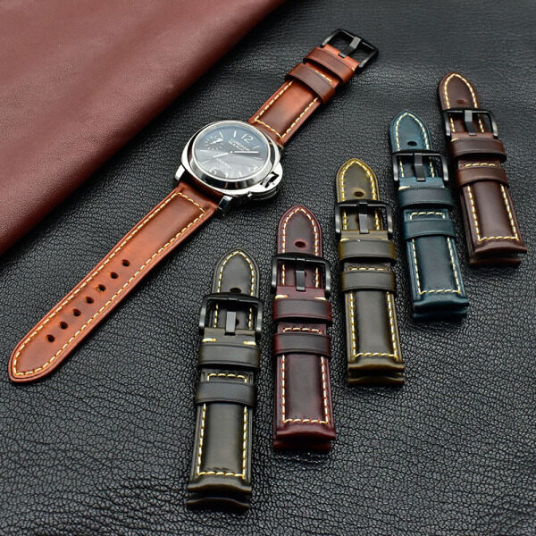 LANGLEY Handmade Vintage Genuine Leather Watch Band for Samsung Galaxy Watch Strap Cowhide Bracelet 18/20/22/24mm with Tools and Box Malaysia