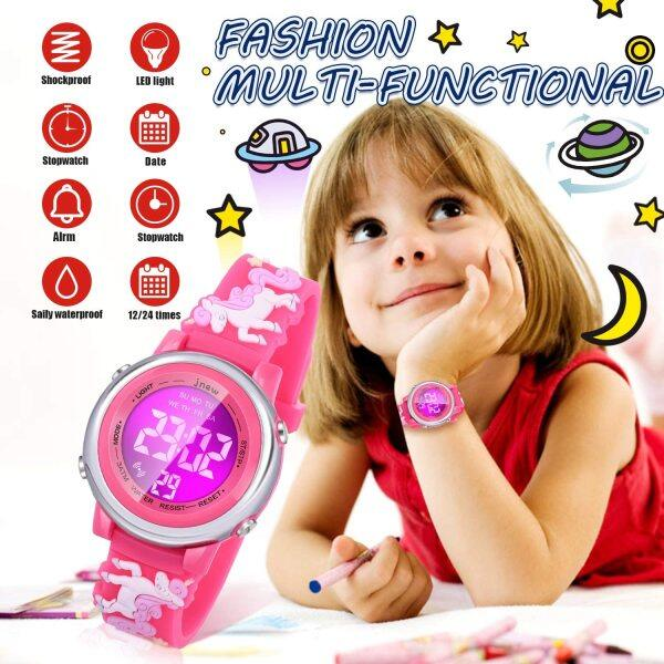Kids 3D Cartoon Waterproof Watches with 7 Colors Backlights Alarm Stopwatch Luminous Suitable for 3-10 Year Girls Best Gift Malaysia