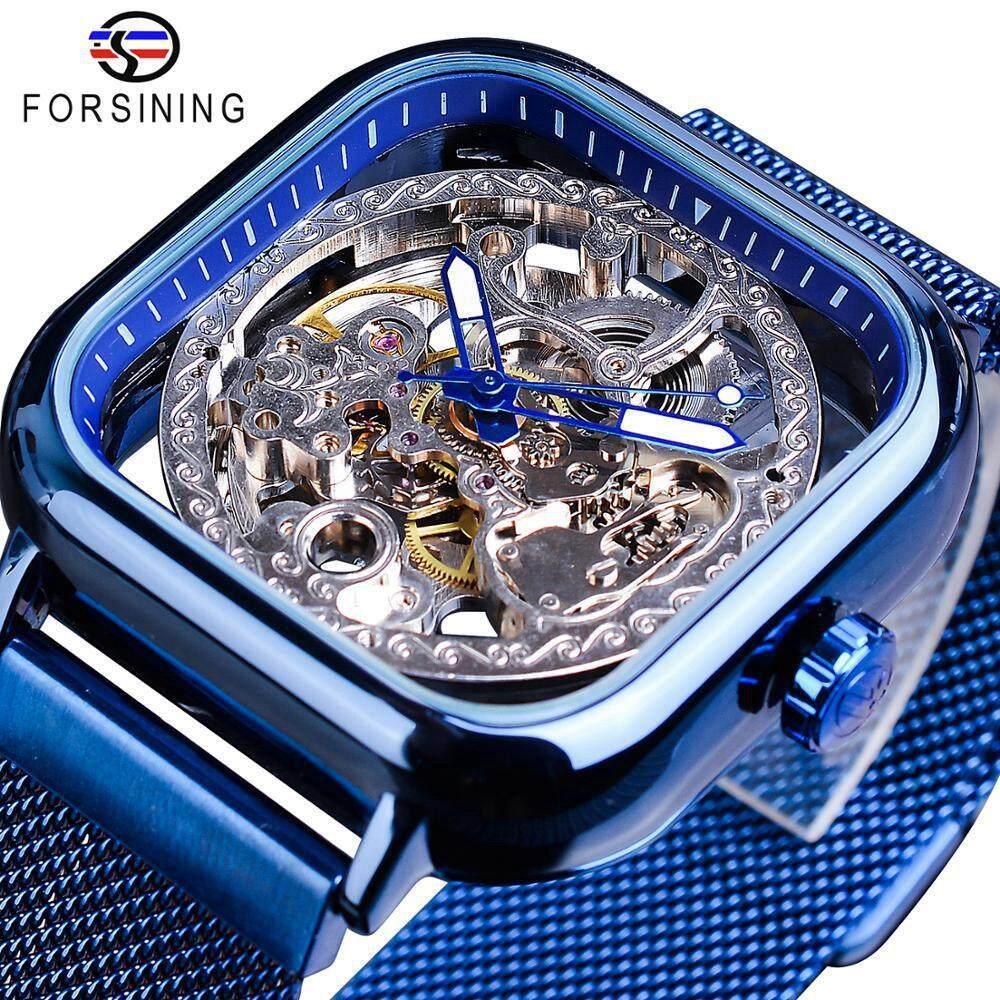 Mới Forsining sang trọng cơ khí tự động thời trang Thiết kế đồng hồ màu xanh vuông rỗng đồng hồ siêu mỏng lưới thép không gỉ dây analog đồng hồ. Nam Tặng bán chạy