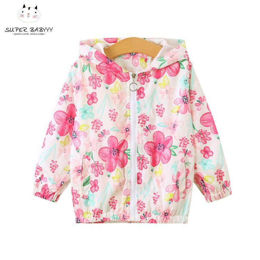 Sby Kids Girls Sun Protective Coat Floral Print Hooded Zipper Elastic Cuffs Coat By Super Babyyy.