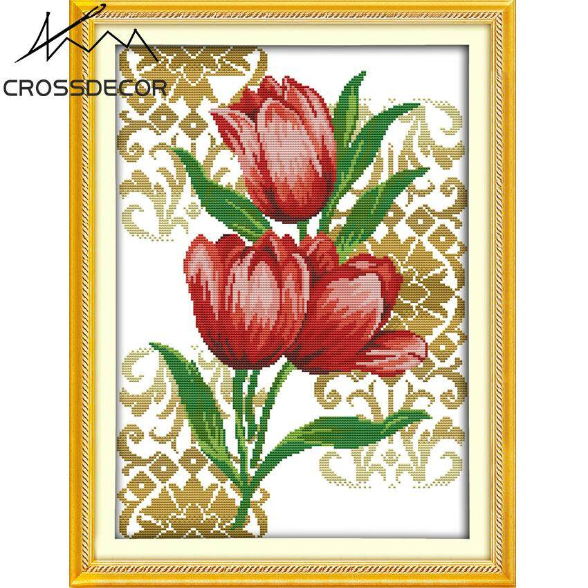 Tulips (7) Stamped Cross Stitch Complete Kit 11CT DIY Handmade Embroidery Needlework Set DMC Threads Pattern Pre-Printed On the Cloth Home Kids Room Decor