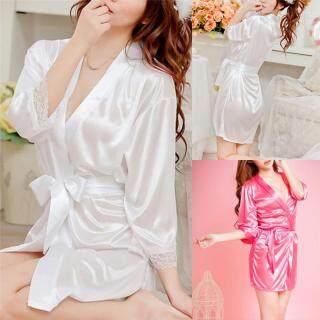 Áo choàng tắm bằng chất liệu satin bóng phối ren dành cho nữ có nhiều màu sắc và kích cỡ để lựa chọn - INTL thumbnail