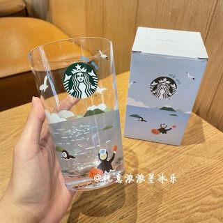 Cốc Thủy Tinh Đơn Giản Cho Sở Thú Bờ Biển Đảo Starbuck Hàn Quốc Cốc Uống Nước Trong Suốt Có Tay Cầm Quà Tặng thumbnail
