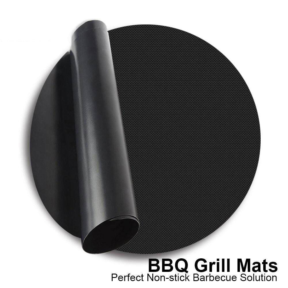 Yuero 1Pcs 24cm Reusable BBQ Grill Mat Non-Stick Works on Gas, Charcoal, Electric Grills Heat Resistant Barbecue Sheets For Grilling Meat, Veggies, Seafood For Camping Outdoor BBQ