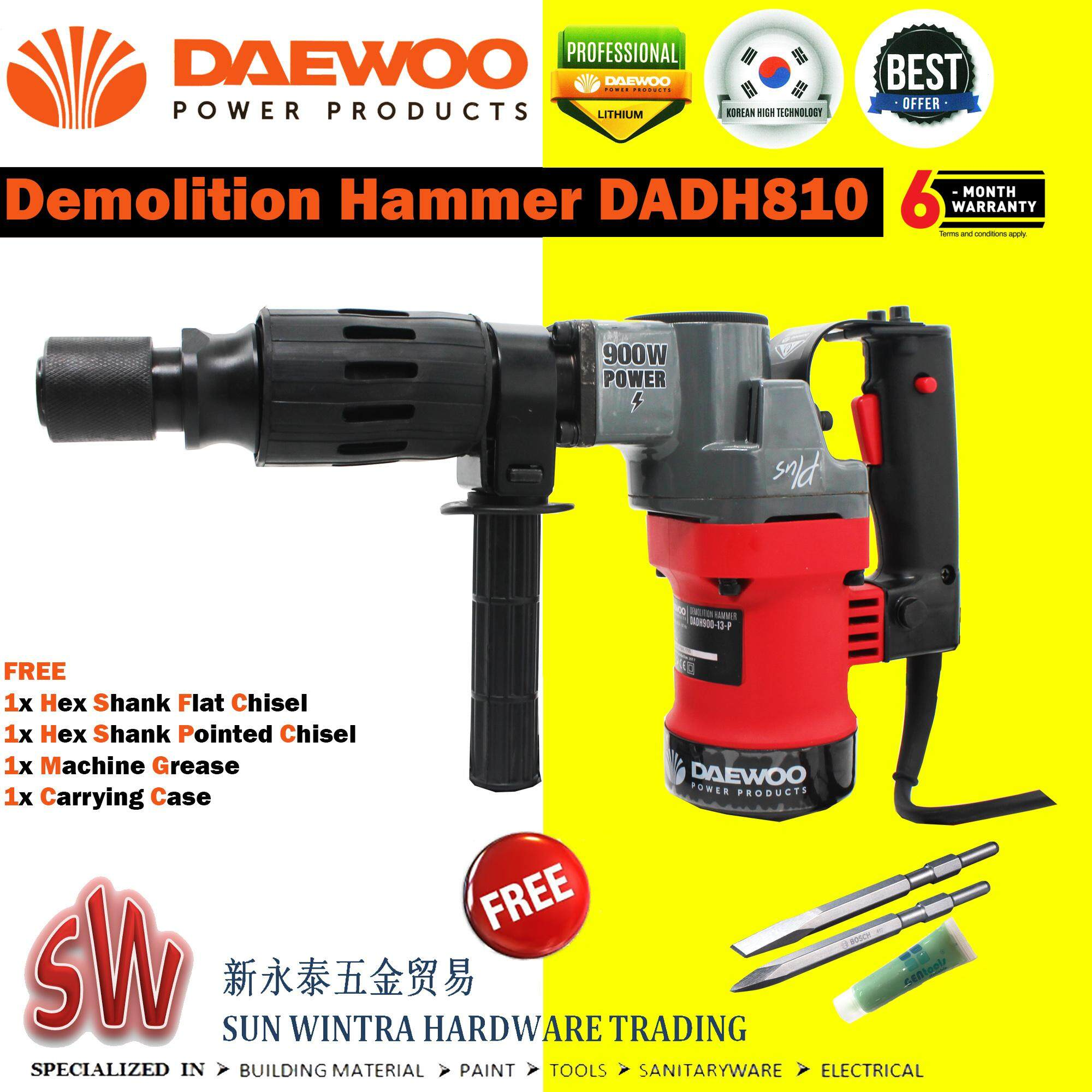 DAEWOO DEMOLITION HAMMER DADH0810 F.O.C 3 PCS 2x CHISEL AND 1X MACHINE GREASE