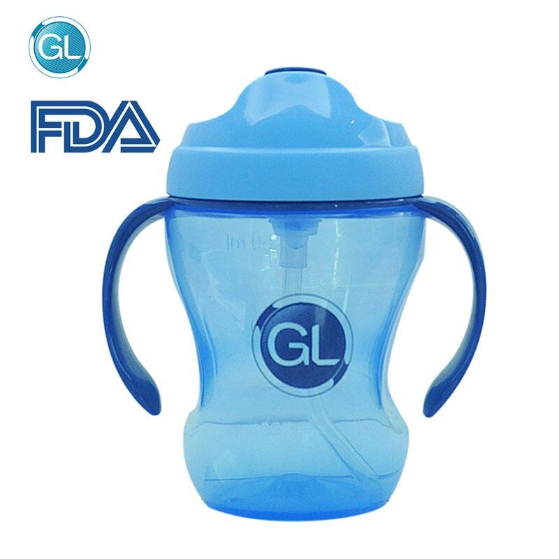 260Ml Baby Bottle Silicone Sippy Kids Cup Children Training Cups With Straw Handle Cute Baby Drinking Water Cup Feeding Bottle