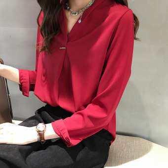 Dikodumter 2019 เสื้อสีทึบสำหรับผู้หญิงแฟชั่นเสื้อชีฟองแขนยาวเลดี้เสื้อทำงาน