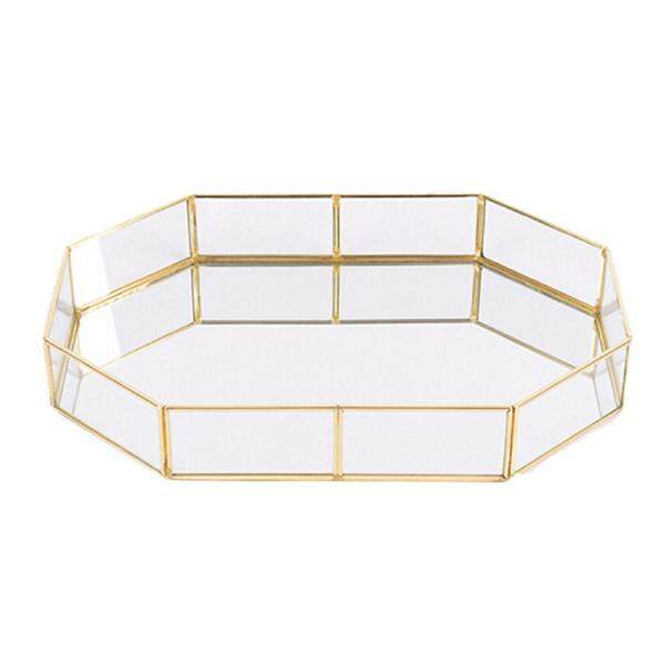 SilyNew Vintage Glass Storage Tray, Metal Mirror Tray, Gold Finish Gold Tray for Jewelry, Make-Up, Simple Decoration, Home Storage