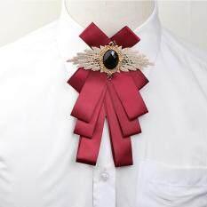 1 * Trang Sức Polyester Boutonniere Ribbon Cà Vạt Phụ Kiện Trâm Rhinestone Cổ Áo Pin Bow Ties