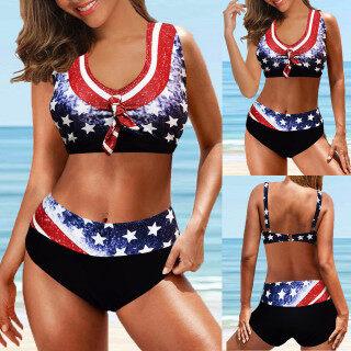 Bikini Quiny Cho Nữ, Đồ Bơi Mới Đồ Bơi Nữ In Hình Cờ Ngày Độc Lập Đồ Bơi Thể Thao Chia Mảnh thumbnail
