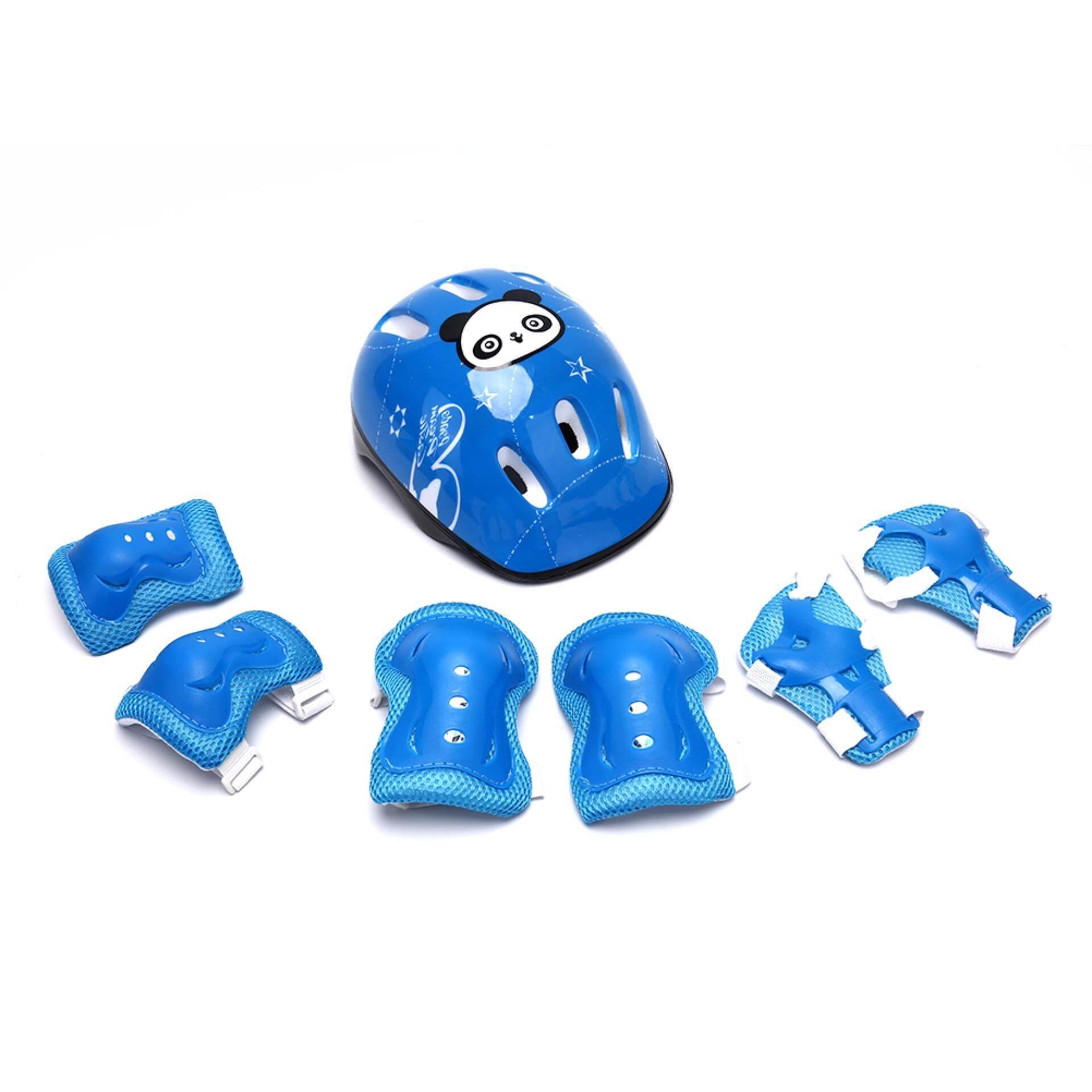 Rồng 7 cái/bộ Trẻ Em Trượt Băng Mũ Bảo Hiểm Bảo Vệ Khuỷu Tay Đầu Gối Đệm Lót Cổ Tay Trẻ Em 9