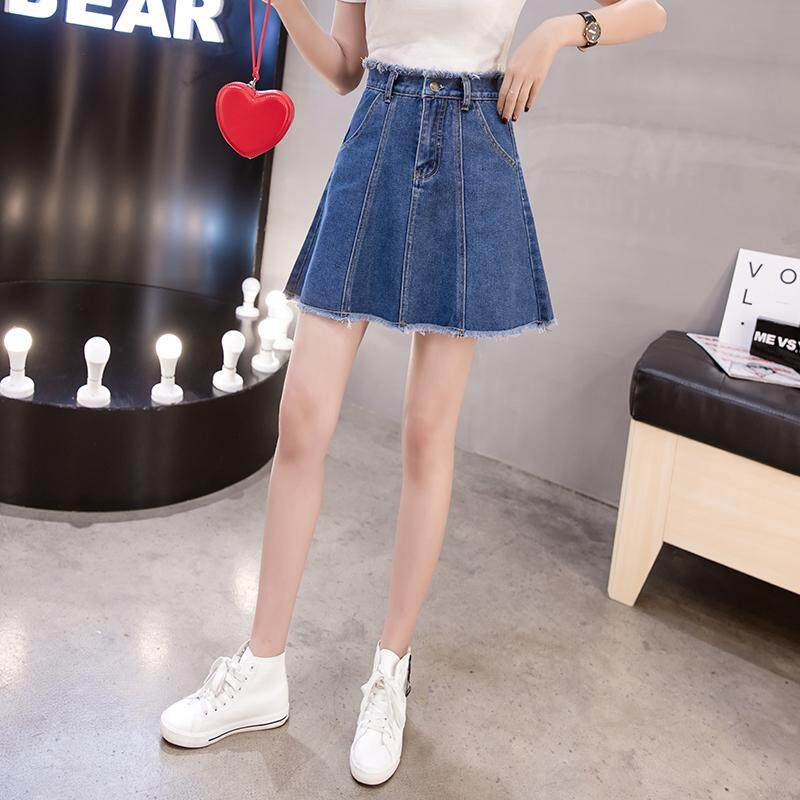 64ffd0340430 CHENWEN Mini A Line Skirt Denim Women High Waist Button Jean Skirt Mini  Plus Size A