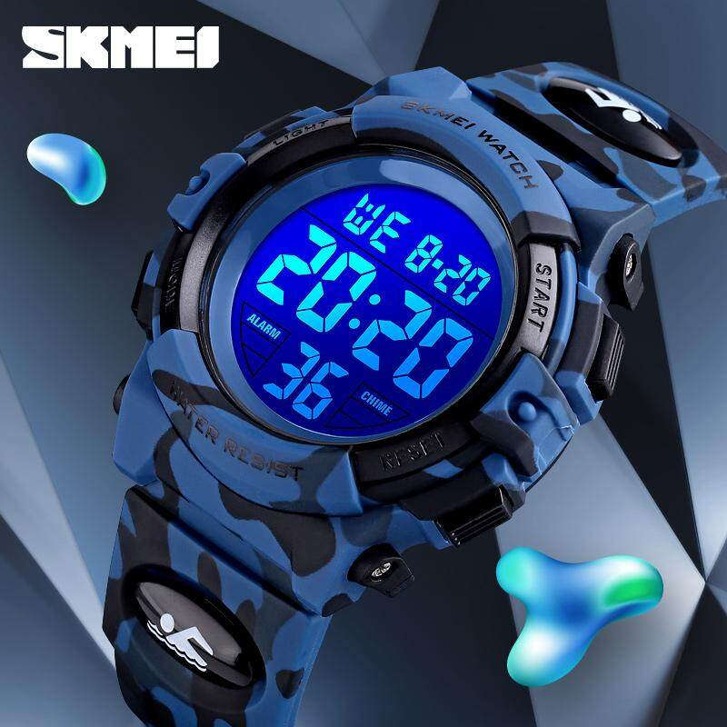 SKMEI Fashion Kids Sport Watches Childrens 50M Waterproof Colorful Lights Digital Watch Luminous Chronograph Complete Calendar Watch For Boys Malaysia