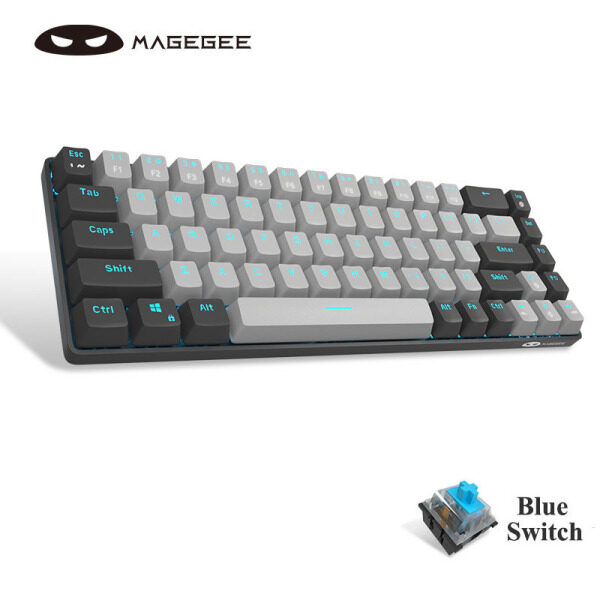 MageGee MK-Box 65% Mechanical Keyboard, Wired Gaming Keyboard Blue / Red Switch Type-C 68 Keys LED Backlit Mini Compact Keyboards for Laptop Windows PC Gamer(Free Keycaps)