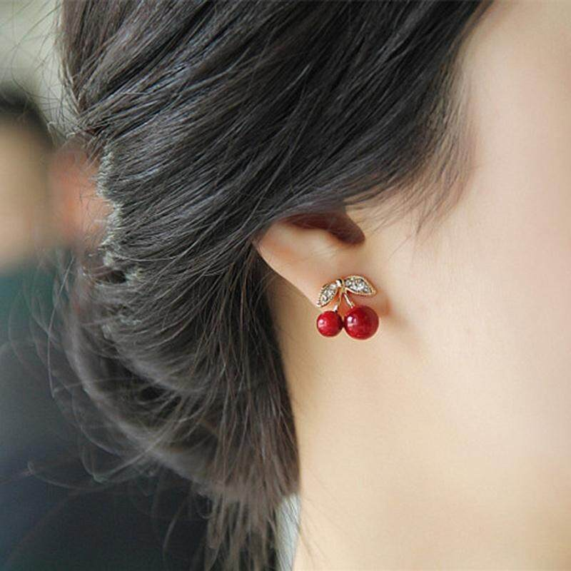 New Fashion Cute Lovely Red Cherry Earrings Rhinestone Leaf Bead Stud Earrings for Woman Jewelry Birthday