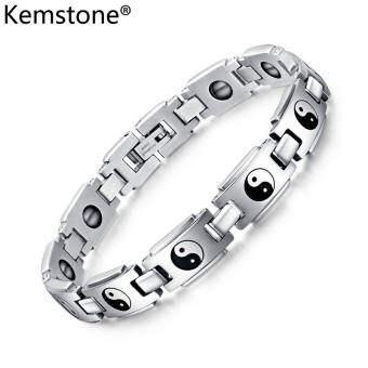 Kemstone 10 มิลลิเมตรวินเทจสีเงินชุบผู้ชายศาสนา Tai Chi Bagua หินสีดำสร้อยข้อมือเหล็กไทเทเนียม