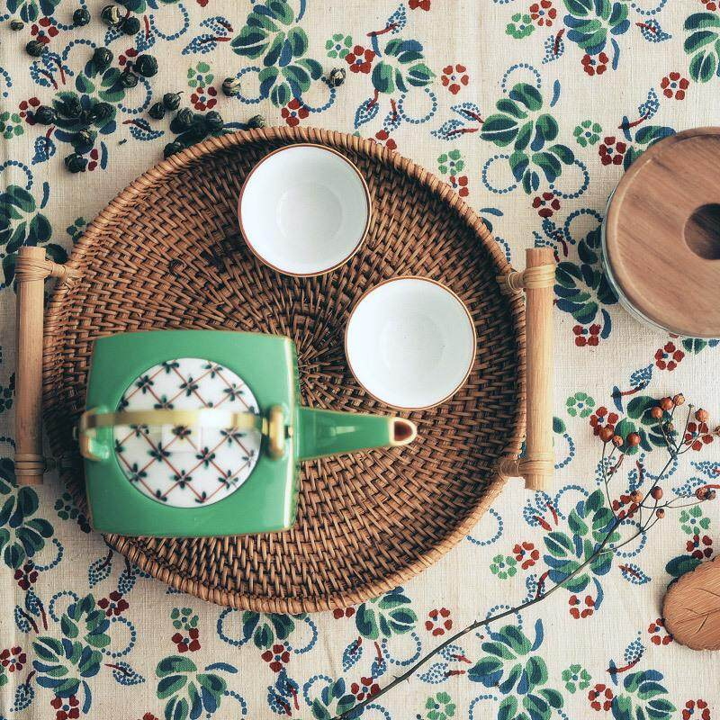 Handmade Rattan Tray Storage Basket Disc Bread Fruit Snacks Tea Cup Tray Coffee Bean Cereal Table Needle Vietnam Imported