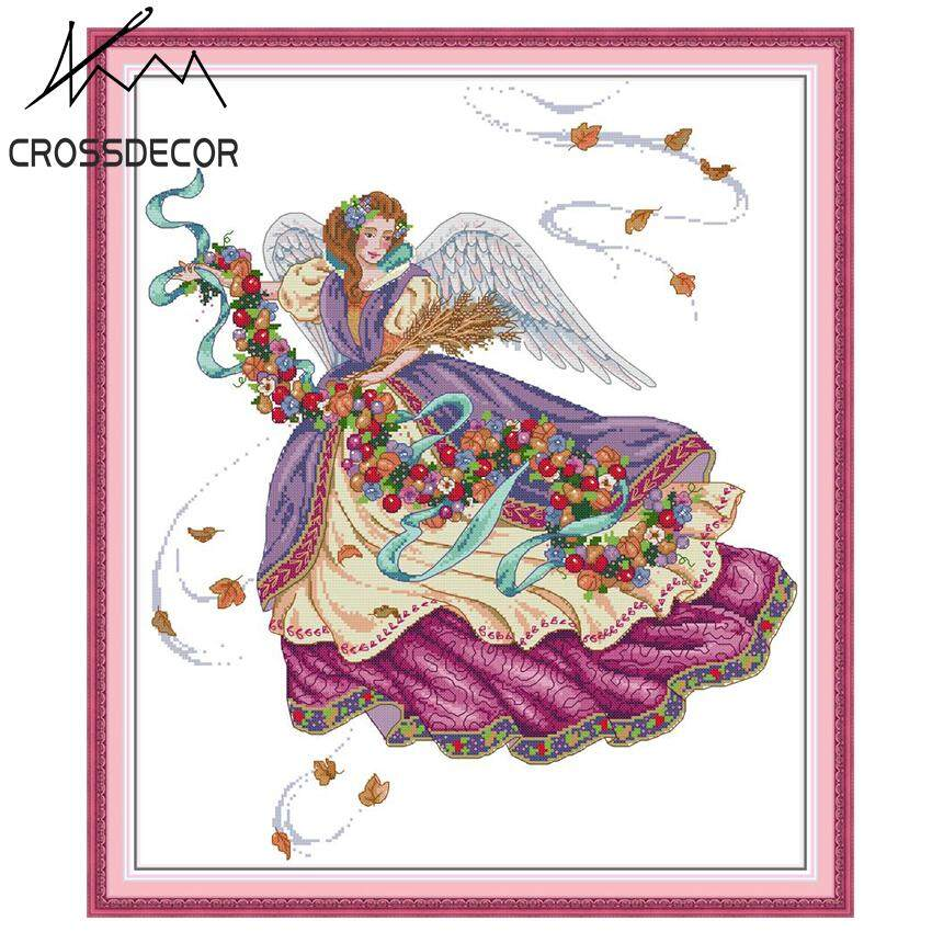 New Arrival Precise Stamped Cross-Stitch Complete Set Purple Angel DIY Handmade Embroidery Needlework 11CT DMC Complete Kits Pattern Pre-Printed On the Cloth Home Room Decor