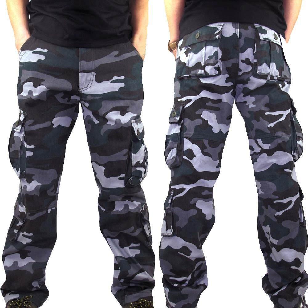 8ebb57a83a Echomenshop Men Camouflage Pocket Overalls Casual Pocket Sport Work Casual Trouser  Pants