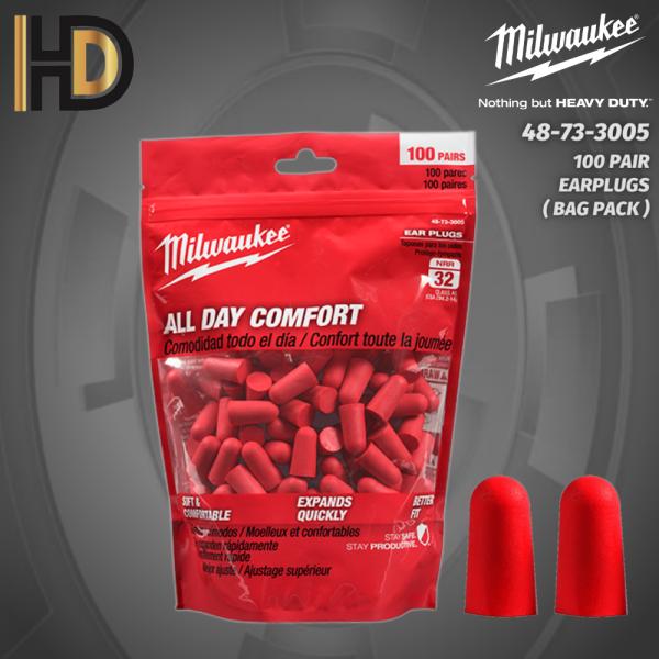 Milwaukee Noise Reducing Foam Earplugs ( 100 PAIR ) ( BAG PACK )
